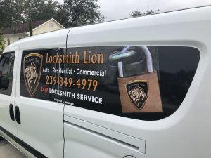 Naples Locksmith Lion van that serving Naples, Marco Island, Estero, Bonita springs, Florida and location near by
